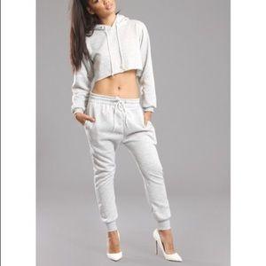 Sorella Boutique Cropped Grey Sweatsuit Set - S